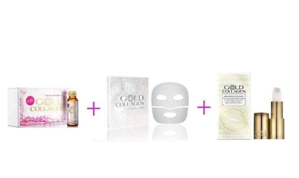 Комплект PURE GOLD COLLAGEN + HYDROGEL MASK + ANTI AGEING LIP VOLUMISER